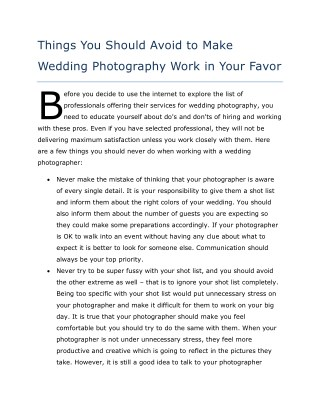Things You Should Avoid to Make Wedding Photography Work in Your Favor