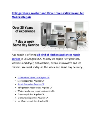 , washer and Dryer Ovens Microwave, Ice Makers Repair Los Angeles, CA