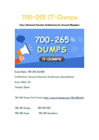 New IT-Dumps 700-265 Free Dumps Download