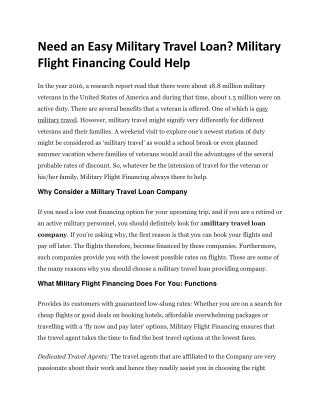 Need an Easy Military Travel Loan? Military Flight Financing Could Help