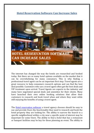 Hotel Reservation Software Can Increase Sales