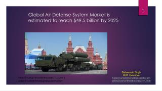 Global Air Defense System Market is estimated to reach $49.5 billion by 2025;
