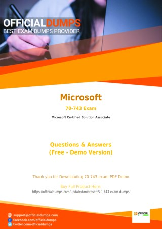 70-743 Dumps - Pass in 1ST Attempt with Valid Microsoft MCSA 70-743 Exam Questions - PDF