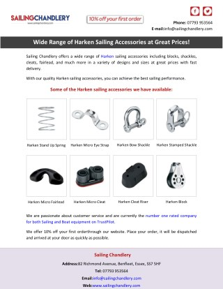 Wide Range of Harken Sailing Accessories at Great Prices!
