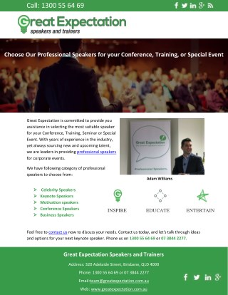Choose Our Professional Speakers for your Conference, Training, or Special Event