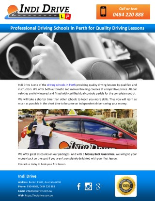 Professional Driving Schools in Perth for Quality Driving Lessons