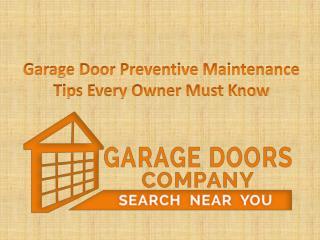Garage Door Preventive Maintenance Tips Every Owner Must Know
