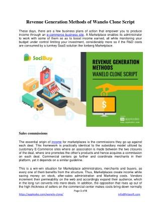 Revenue Generation Methods of Wanelo Clone Script