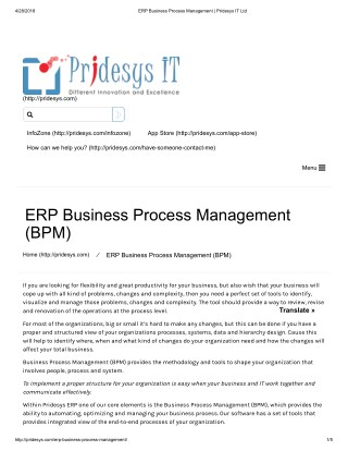 ERP Business Process Management | Pridesys IT Ltd