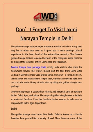 Don't Forget To Visit Laxmi Narayan Temple in Delhi