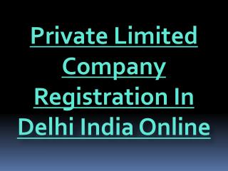 Private Limited Company Registration In Delhi India Online