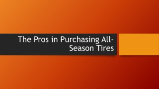 The Pros in Purchasing All-Season Tyres