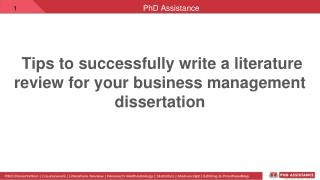 tips to  write a literature review for your business management dissertation