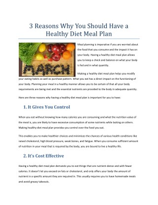 3 Reasons Why You Should Have a Healthy Diet Meal Plan