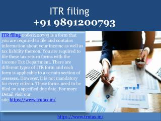 What is ITR filing 09891200793?
