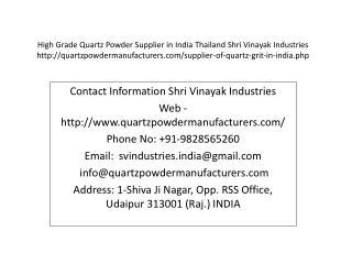 High Grade Quartz Powder Supplier in India Thailand Shri Vinayak Industries