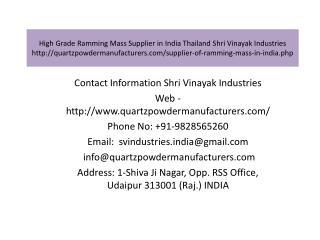 High Grade Ramming Mass Supplier in India Thailand Shri Vinayak Industries