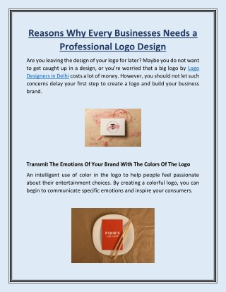 Reasons Why Every Businesses Needs a Professional Logo Design
