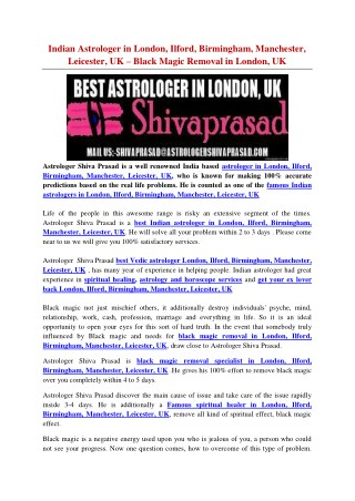 Indian Astrologer in London, Ilford, Birmingham, Manchester, Leicester, UK – Black Magic Removal in London, UK