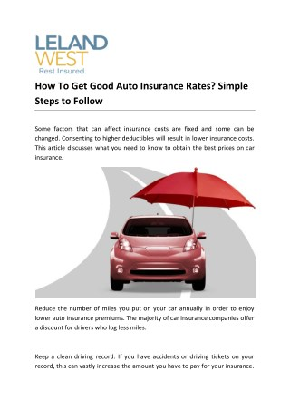 How To Get Good Auto Insurance Rates? Simple Steps to Follow