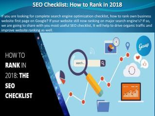SEO Checklist: How to Rank in 2018