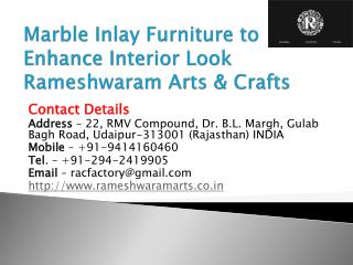 Marble Inlay Furniture to Enhance Interior Look Rameshwaram Arts & Crafts