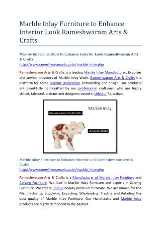 Marble Inlay Furniture to Enhance Interior Look Rameshwaram Arts & Crafts