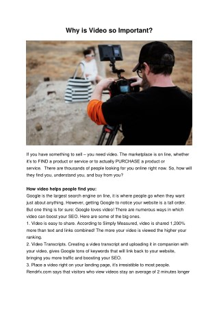 Know why is making video so important for your business?