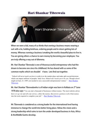 Hari Shankar Tibrewala- A Successful entrepreneur