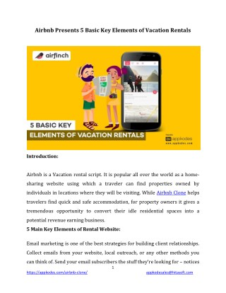 Airbnb Presents 5 Basic Key Elements of Vacation Rentals
