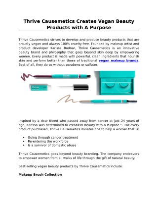 Thrive Causemetics Creates Vegan Beauty Products with A Purpose