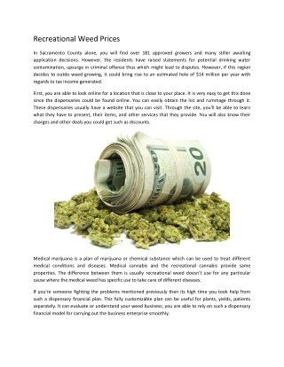 Recreational Weed Prices