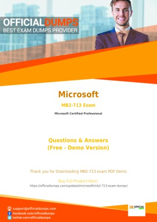 MB2-713 Dumps - Pass in 1ST Attempt with Valid Microsoft MB2-713 Exam Questions - PDF