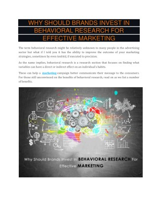 Why Should Brands Invest In Behavioral Research for Effective Marketing
