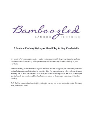 3 Bamboo Clothing Styles you Should Try to Stay Comfortable