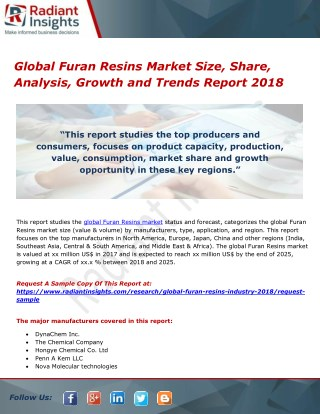 Global furan resins market size, share, analysis, growth and trends report 2018