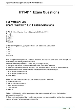 Testpassport H11-811 Real Exam Questions