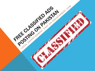 Post Now local classified ads now in Pakistan