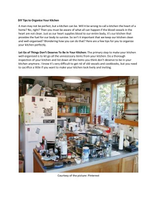 DIY Tips to Organise Your Kitchen