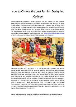How to Choose the best Fashion Designing College