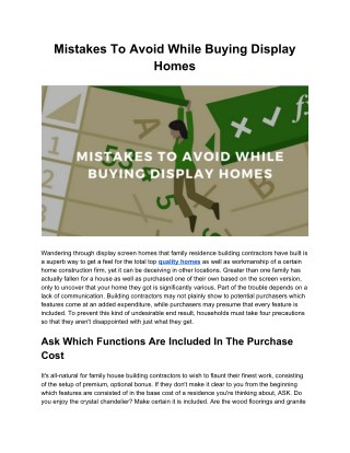 Read This Before Buying Display Homes