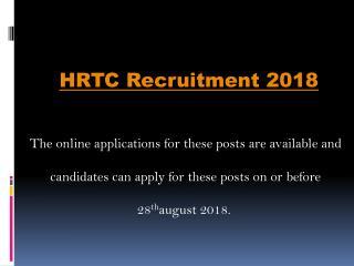 HRTC Recruitment 2018