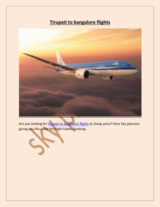tirupati to bangalore flights