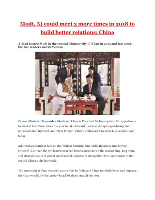 Modi, Xi could meet 3 more times in 2018 to build better relations - China