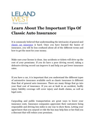 Learn About The Important Tips Of Classic Auto Insurance