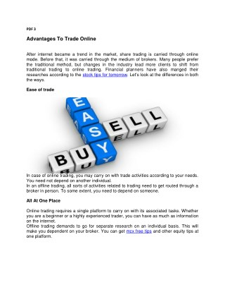 Advantages To Trade Online