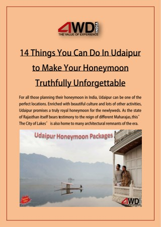 14 Things You Can Do In Udaipur to Make Your Honeymoon Truthfully Unforgettable