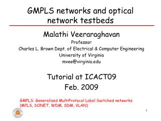 GMPLS networks and optical network testbeds