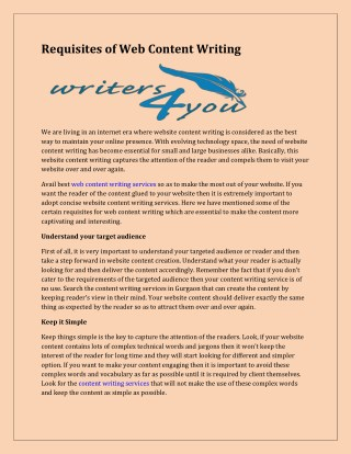 Requisites of web content writing