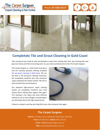 Completele Tile and Grout Cleaning in Gold Coast